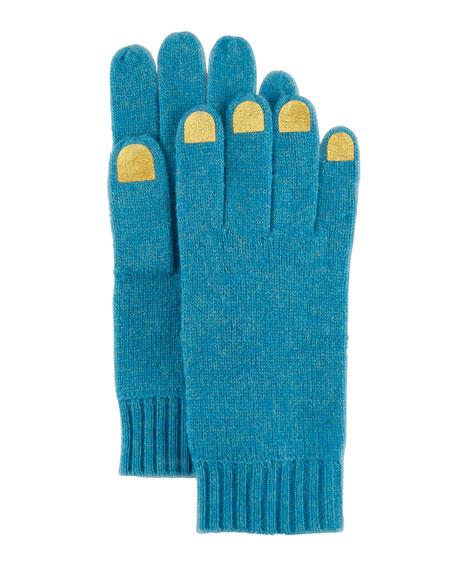 Nail-Polish-Illusion Knit Gloves, Teal