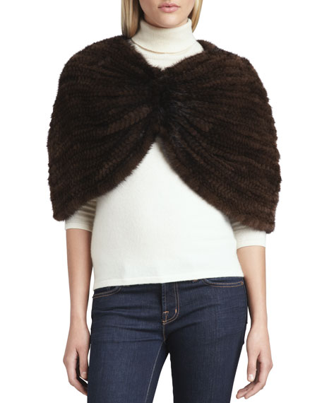 Knit Mink Capelet, Brown