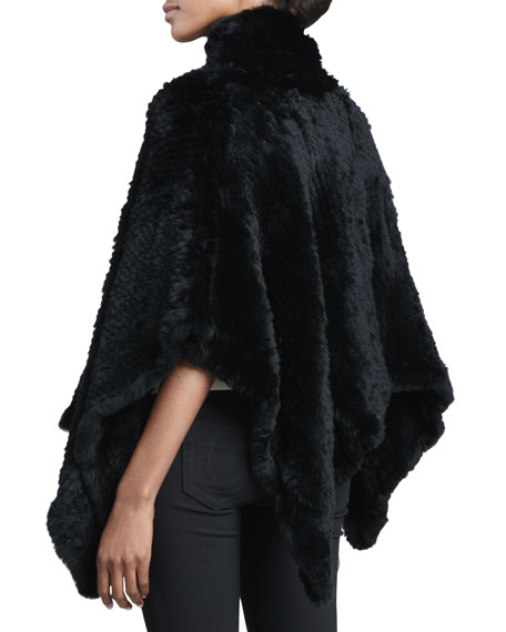 Knitted Rabbit Fur Poncho, Black