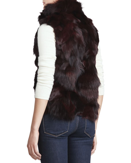 Slim Fox Fur Vest, Merlot