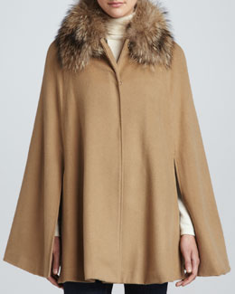 Adrienne Landau Fox-Trim Cape, Camel