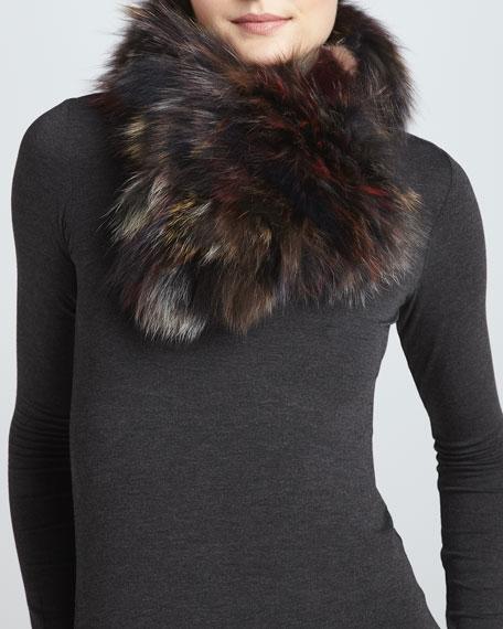 Knit Fox Fur Scarf, Multicolor