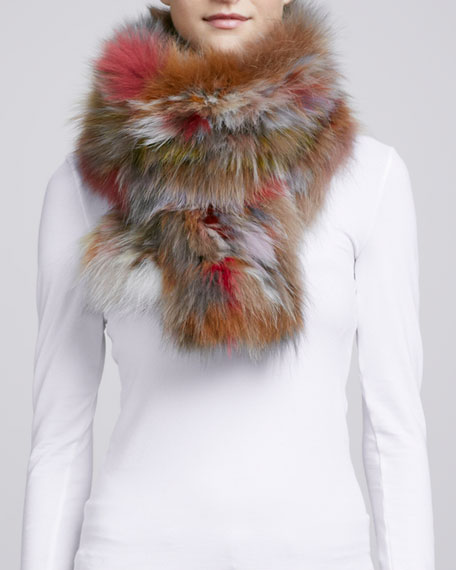 Knit Fox Fur Scarf, Light Multi