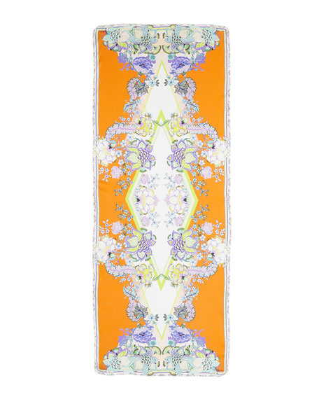 Padma Printed Silk Scarf, Tangerine