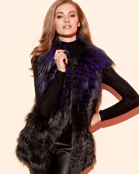 Layered Fox-on-Silk Fur Vest, Purple