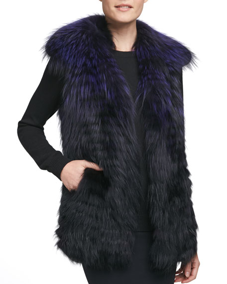 Layered Fox-on-Silk Fur Vest, Purple