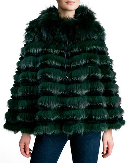 Fox Unlimited Tiered Fox & Rabbit Fur Cape, Green