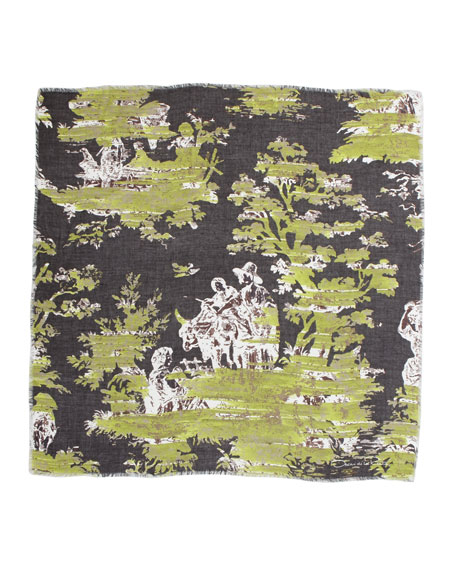 Grande Painted Toile Scarf, Green