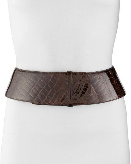 Curved Wide Alligator Belt, Chocolate