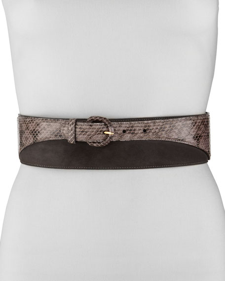 Two-Tone Snakeskin Belt, Brown