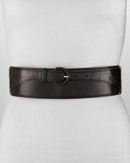 Wide Leather & Alligator Belt, Black