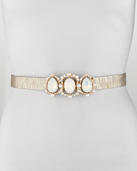 Metallic Jeweled Buckle Belt