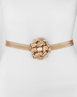 Oscar de la Renta Crystal Flower Chain Belt, Gold