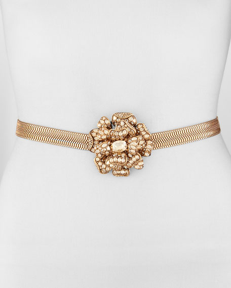 Crystal Flower Chain Belt, Gold