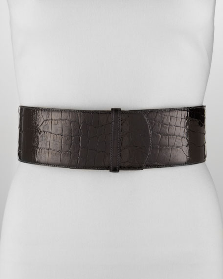 Wide Alligator Belt, Black
