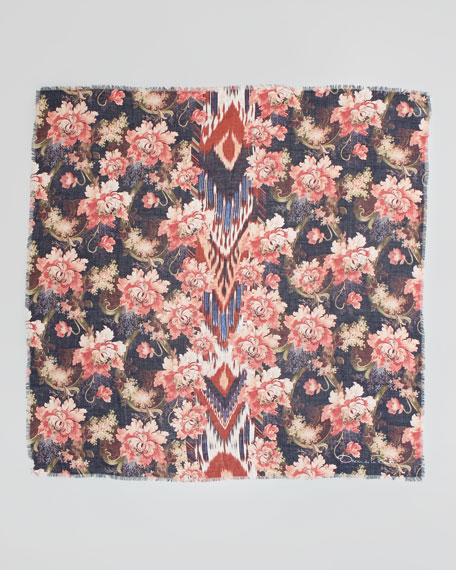 Ikat Floral Fringe Square Scarf
