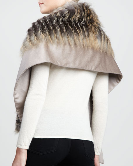 Fur-Striped Cashmere Scarf