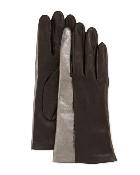 Metallic-Striped Leather Gloves