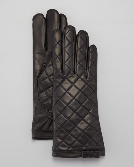 Diamond-Quilted Leather Gloves, Black