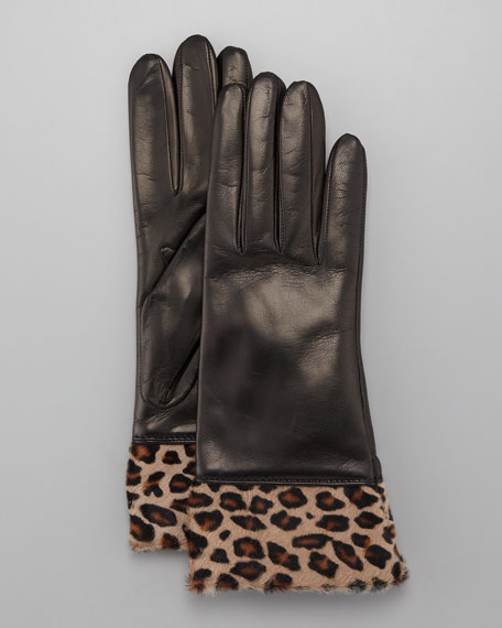 Leopard-Cuff Leather Gloves