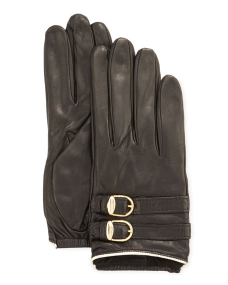 Two-Buckle Short Leather Gloves