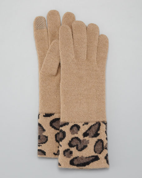 Cashmere Leopard-Cuff Tech Gloves, Camel
