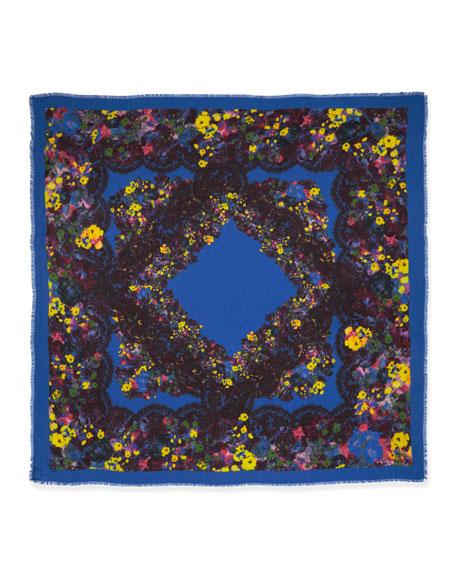 Lace Kimono Floral-Print Square Scarf