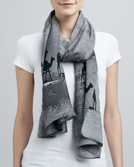 Camel-Print Graphic Scarf, Gray