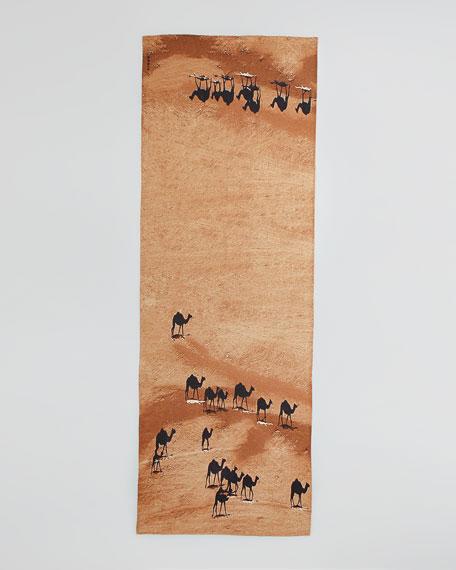 Camel-Print Scarf, Sienna