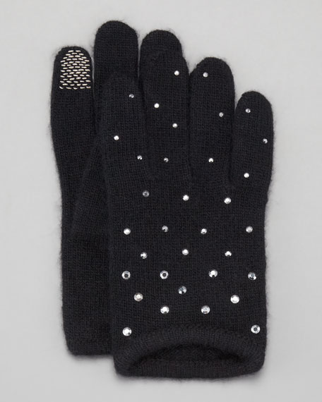 Short Rhinestone Tech Gloves, Black