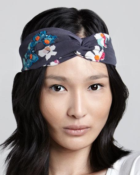 Beaded Floral-Print Headband
