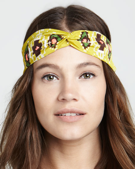 Embroidered Printed Twist Headband, Yellow Multi