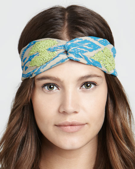 Embroidered Ikat Twist Headband, Blue/Neon Green