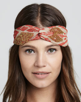 Namrata Joshipura Embroidered Ikat Twist Headband, Red/Gold