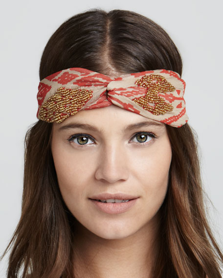 Embroidered Ikat Twist Headband, Red/Gold