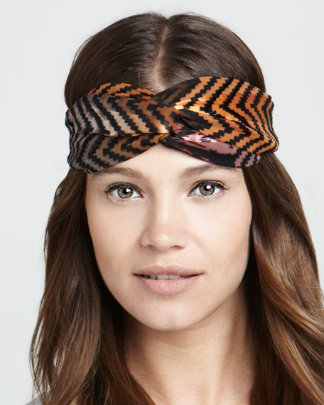 Embroidered Arrow Twist Headband