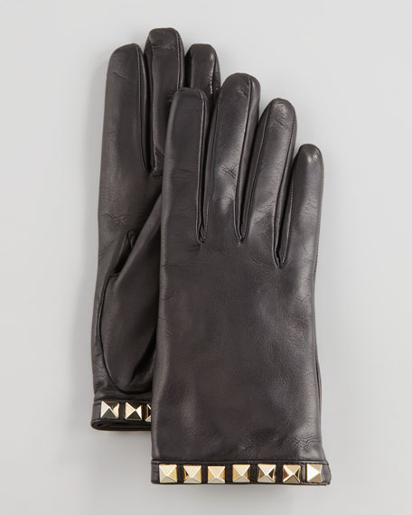 Leather Rockstud-Cuff Gloves