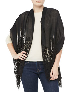 Valentino Cashmere Shawl with Lace Trim