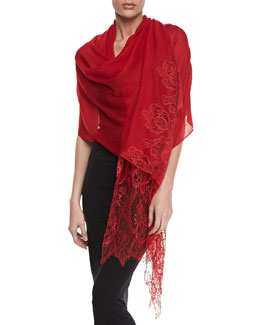 Valentino Fine Wool and Lace Shawl, Red