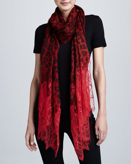 Lace-Trim Jaguar-Print Shawl, Red