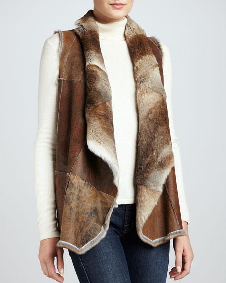 Reversible Rabbit Fur Vest, Natural