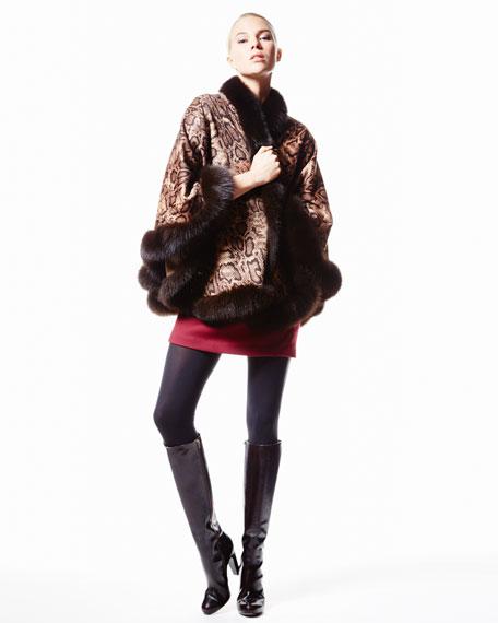 Fox Fur-Trim Python-Print Cashmere Cape