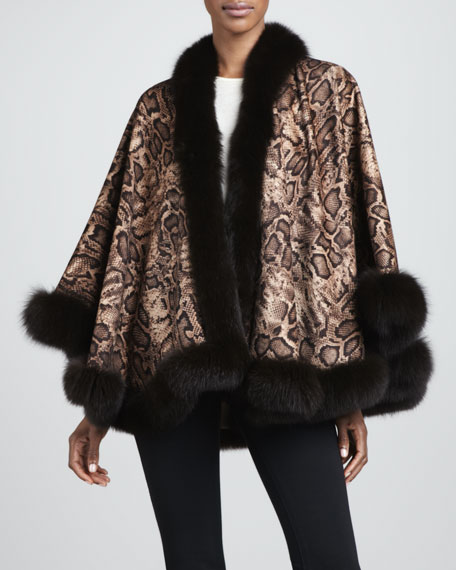 Fox Fur-Trim Python-Print Cashmere Cape
