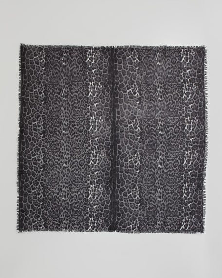 Featherweight Leopard-Print Cashmere Scarf, Gray