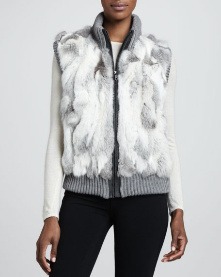 Knit-Trim Rabbit Fur Vest, Gray