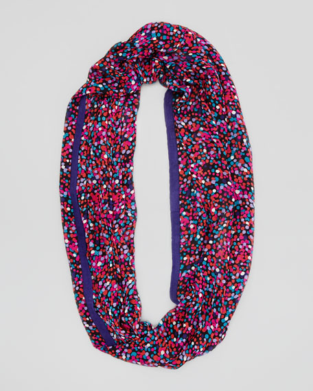 speckled city lights infinity scarf, plum/multi