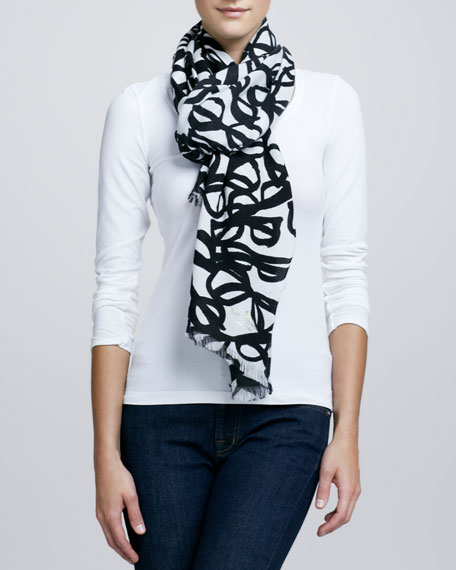 literary glasses-print scarf