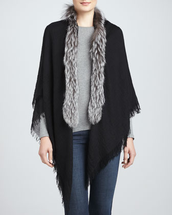 Silver Fox Fur-Trimmed Cashmere Shawl, Black