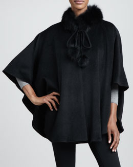 Belle Fare Fox-Trim Cashmere Cape, Black