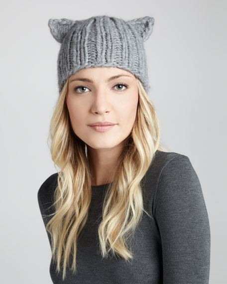 Felix Knit Cap with Animal Ears, Gray